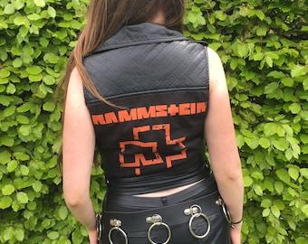 Rammstein Black Leather Vest Jacket