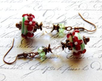 Lampwork Glass Earrings -Green, White and Burgundy Lampwork Glass Earrings - Antique Copper Dangle Earrings