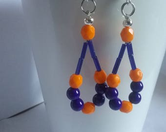 Blue/orange dangle earrings