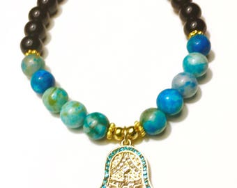 Turquoise Hasma Charm Bracelet | Yoga Stretch Bracelet | Yoga Jewelry | Ladies | Gift