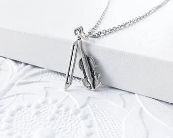 Sterling Silver Violin Charm, Silver Violin and Bow, Musician Charm, Musical Instrument, SS029