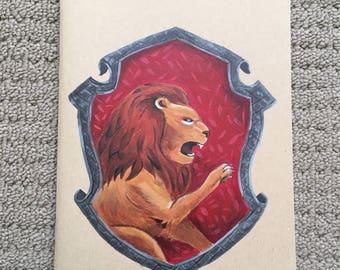 Hand Painted Gryffindor Hogwarts Crest Notebook