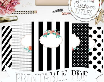 Sophisticate B/W Floral - Printable Binder Cover & Insert - 8.5x11 - Set of 5 - PDF - Instant Download
