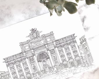 Trevi Fountain, Rome, Italy illustration