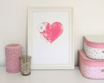 Nursery Print Pink Heart Flowers Wall Art A5 A4