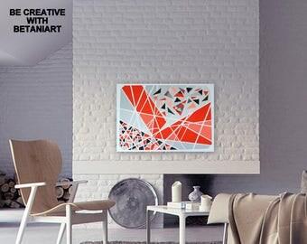 CONTEMPORARY Art Original Abstract Painting Wall Hanging Livingroom Decor Modern Art Home Decor Gouache Tempera Painting Red Black Grey