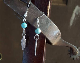 Silver feather earrings, dangle and drop, turquoise earrings, boho jewelry