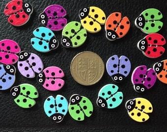 20 assorted wooden ladybird buttons