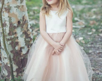 Two tone Flower Girl Dress with Tulle Skirt