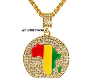 Africa Map Red, Gold, Green Pendant & Necklace
