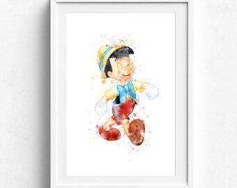 Pinocchio print, childrens wall art, disney Pinocchio, disney print, pinocchio disney, watercolor art print, children print, childrens decor