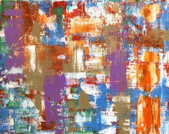 Abstract Acrylic Painting Color Melding with Purple, blues and rust hues