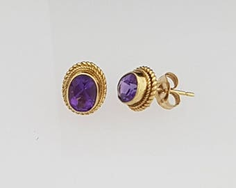 9ct Gold & Amethyst Stud Earrings