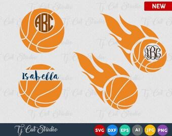 Basketball SVG Basketball svg Cut Files Basketball Basketball flame monogram svg svg,dxf,jpg,eps, png