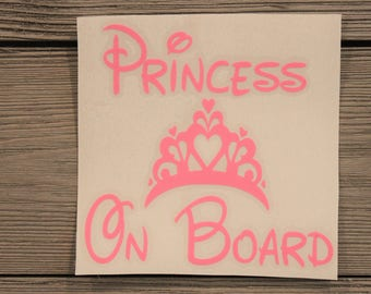 Princess On Board Decal/ Baby On Board Decal/ Personalized Princess Decal