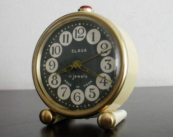 Vintage Slava mechanical soviet alarm clock