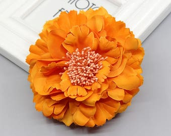 2 Orange Peony Big Flower Hair Clips Brooches 10cm