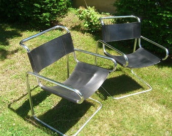 Bauhaus/Mies Van Der Rohe Style Tubular Chrome/Black Leather Cantilever Chairs- 1960+/-