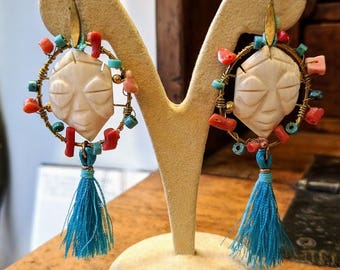Earrings turquoise coral ivory
