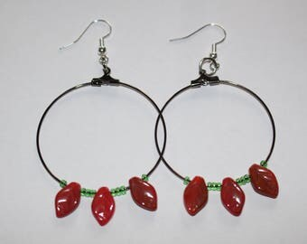Autumn leaves czech glass bead hoop earrings