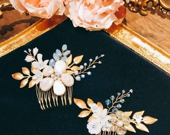 Miss Pastel-Baroque Pearl and Swarovski Pearl gold leave hair comb(Pair)Blue/ bridal headpiece/ bridal headpiece/hair accessory
