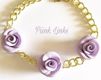 Lavender Rose & Gold Chain Bracelet