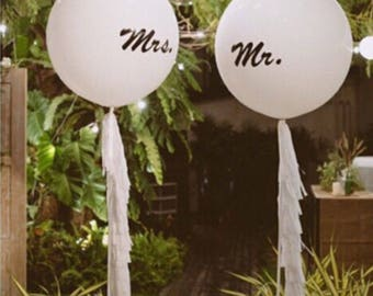 GIANT Mr & Mrs 36 inch 3 foot Helium Latex Balloon White, wedding day ceromony