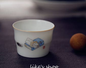 teacup,handmade,hand drawing,pottery