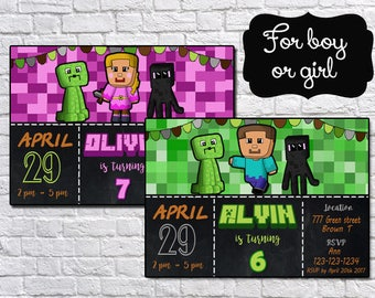 SUPER SALE!!! Mine Themed Birthday Party Printable Personalized Invitations - NOT instant download