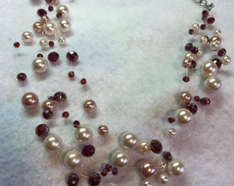 Red and Pearl Floating Bead Statement Necklace