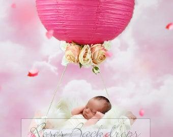 Digital background, scenery, newborn babies, balloon, girl, 2 files
