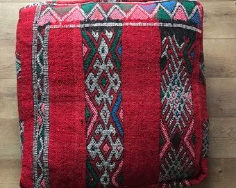 Moroccan Kilim Pouf, Floor Cushion, Vintage Pouf, Kilim, Floor Pillow