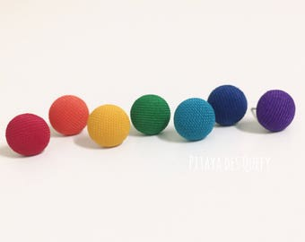 Fabric covered button earrings/ button earrings/ rainbow/ 7pcs in a package