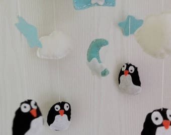 Penguin baby mobile