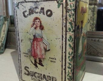 Old French cocoa tin by SUCHARD, antique publicity powdered chocolate  tin.