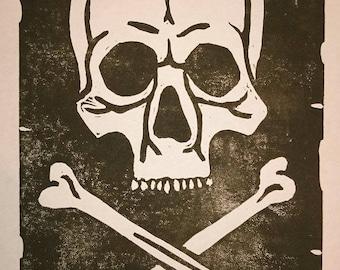 Skull and Crossbone Linocut Print