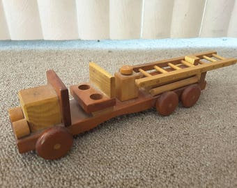 Vintage Wood Toy Fire Truck