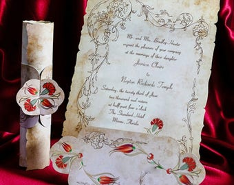Scroll Wedding Invitation Card, Vintage Wedding invitations, Roll Style with Flowers, Old Paper, Personalized Printing, Free Shipping