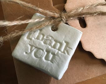 Rustic clay 'thank you' gift tag