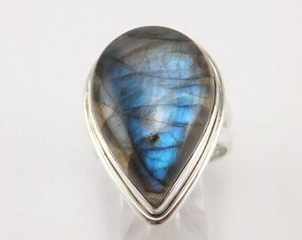 Sterling Silver Labradorite Spectrolite Ring Size 8 Great Blue flash .925 Domestic Free Shipping