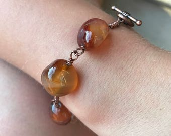Amber and Bronze Stone Bracelet