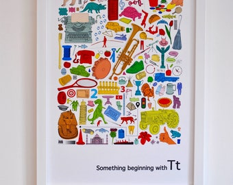 Personalised nursery wall art, Alphabet print, 'Something beginning with T' design