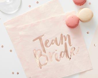 Pink & Rose Gold Team Bride Napkins, Hen Party Napkins, Bridal Party Napkins, 16 Pack