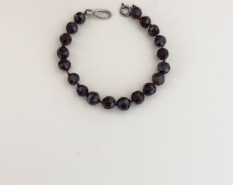 Italian Garnet Glass Bead Bracelet