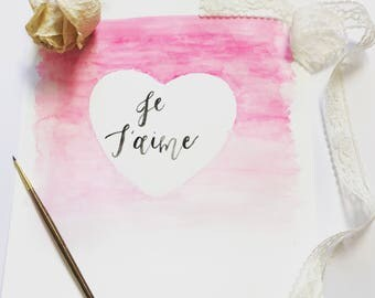 Watercolor print- Je taime