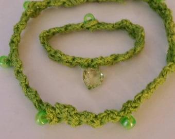 Crochet choker/bracelet duo