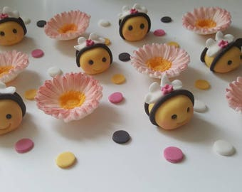 Edible girl bumble bees cake toppers decorations birthday animal sugarpaste