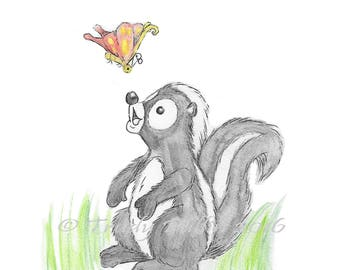 Skunk with a Butterfly