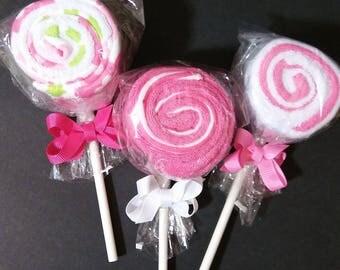 Baby Washcloth Lollipops (Set of 3) - Girl