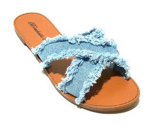 Denim Slide Sandals